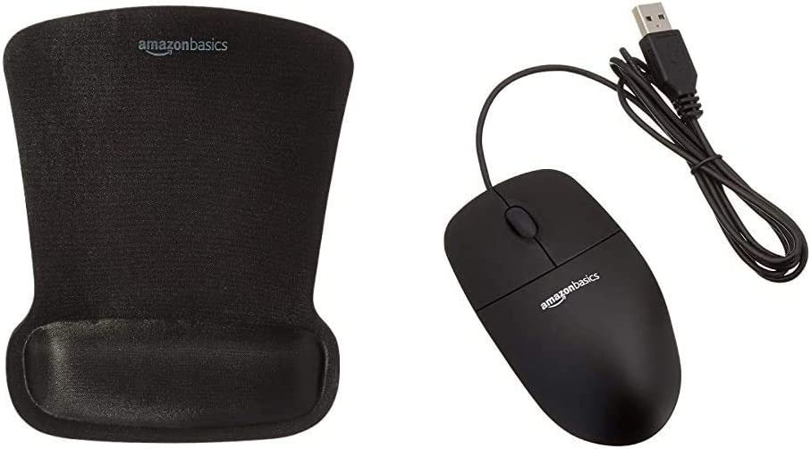 Black Basics 3-Button USB Wired Computer Mouse 30-Pack Bulk