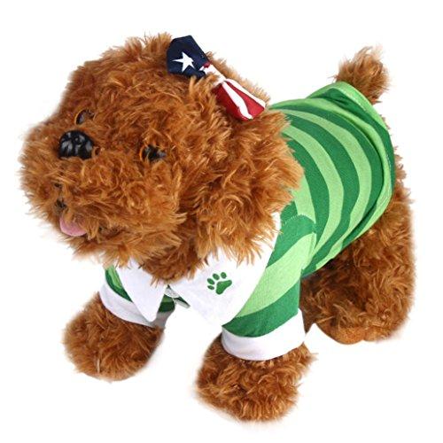 [Dreaman Dog T-Shirt Clothes Lapel Stripe Cotton Puppy Pet Dog Clothes (L)] (Ohio State Dog Costume)