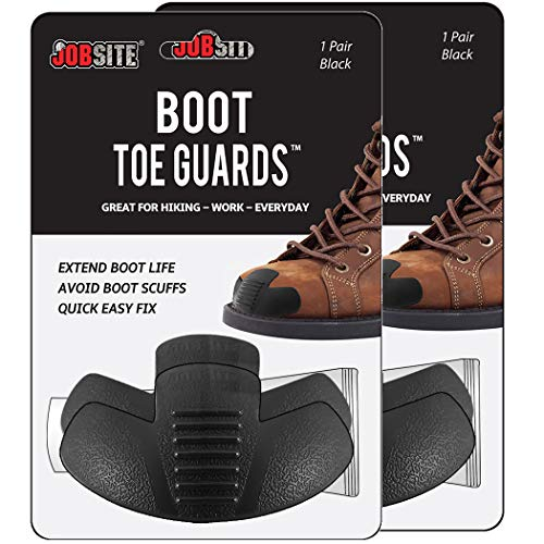 Jobsite Heavy Duty Boot Toe Guards - Boot Toe Protector Cover - Extend Boot Life & Protect Against Boot Scuffs - Black - 2 Pairs
