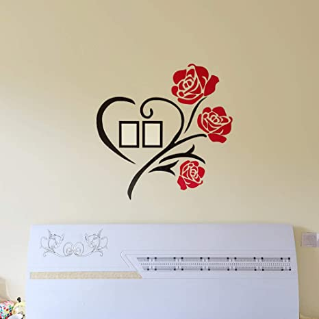 Amazon Com Rose Love 3d Wall Decor Decals With Two 3 5x5 Size Photo Frames For Bedroom Living Room Vsco Room Decor Red 31x 31 Inches Kitchen Dining