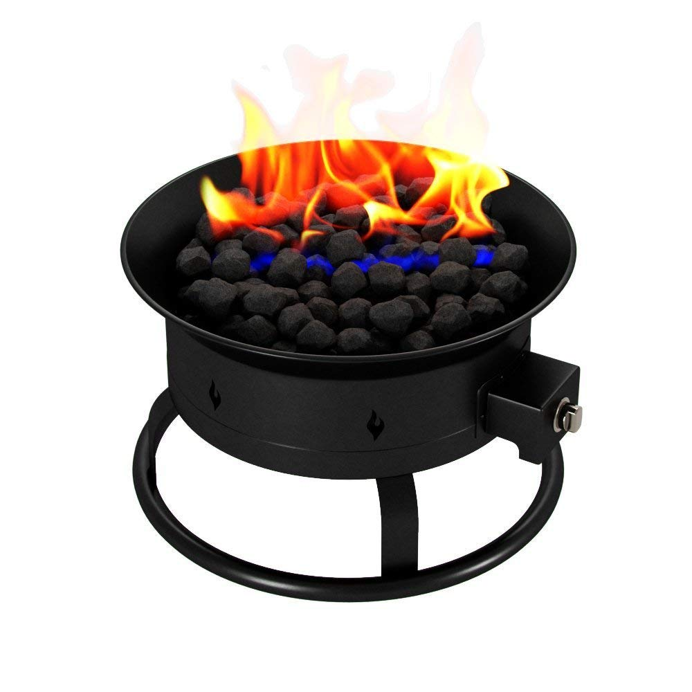Regal Flame PREMIUM Portable 19 Inch Outdoor LP Propane Gas Fire Pit with Lid, Carrying Straps, and Lava Gas Log Rock Set by Regal Flame