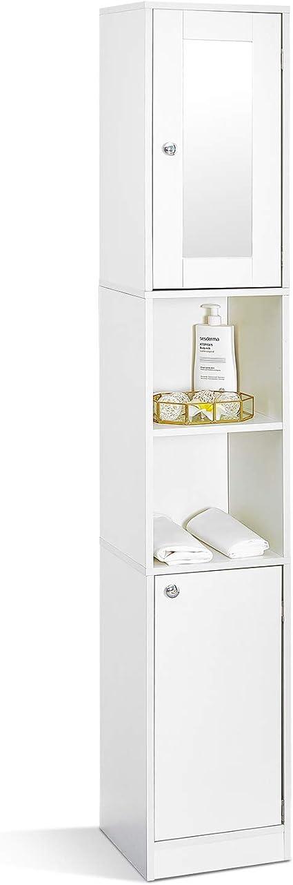 mondeer meuble colonne de salle de bain moderne 2 portes 1 miroir 6 etageres 180x30x28cm blanc