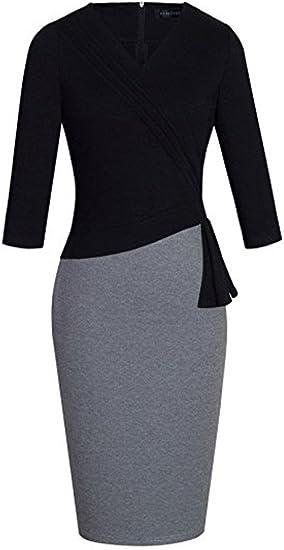 Womens Elegant Patchwork Sleeve Wear to Work Dress