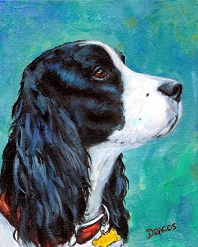 (English Springer Spaniel Dog Art Print, Black and White English Springer Spaniel Profile Portrait, Print of Original Dog Painting by Dottie Dracos, .)