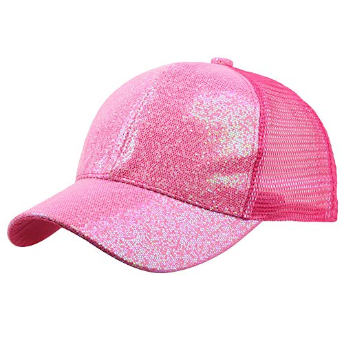 Jialili Unisex Fashion Sequins Shiny Baseball Cap Mesh Breathable Hat Sun Caps(L,Hot Pink)