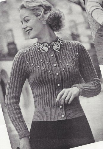 Vintage Knitting PATTERN to make - Beaded Cable Rib Knit Cardigan Sweater 1950s. NOT a finished item. This is a pattern and/or instructions to make the item only.
