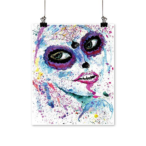 (Canvas Wall Art Halloween Lady Sugar Skull Up Creepy Dead Face Gothic Woman sy Blue for Bathroom Home,28