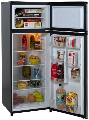 Avanti RA7316PST 2-Door Apartment Size Refrigerator, Black with Platinum Finish (Hinge Door Freezer Top Refrigerator)
