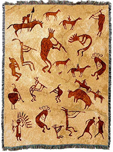 Pure Country Weavers | Kokopelli Petroglyphs Woven Tapestry Throw Blanket with Fringe Cotton USA 72x54