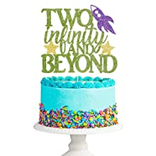 Two Infinity and Beyond Cake topper - Toy Story Birthday Cake Topper Decorations, Boys Girls 2nd Birthday Cake Decorations Supplies