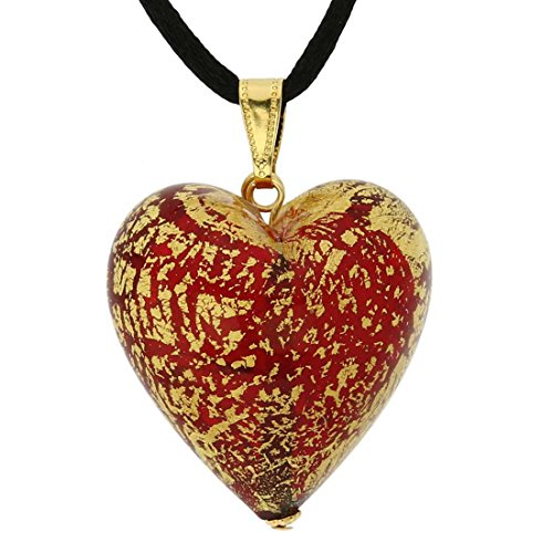 GlassOfVenice Murano Glass Heart Pendant Ca D'oro - Ruby Red