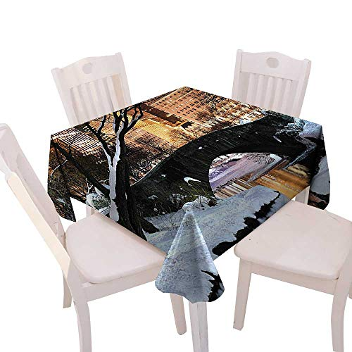 Spring & Summber Tablecloth Dinner Picnic Cloth Home Decoration,(W54 x L54) NYC Decor York City Manhattan Central Park Lake Bridge in Freezing Winter at Dusk Panorama Brown Black White.