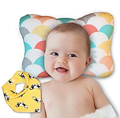 Baby Head Shaping Pillow - Newborn Infants Flat Head & Reflux Prevention – Hypoallergenic Organic Cotton – 3D Breathable Cooling Mesh Ergo Design– Machine Washable & Dry-able – Bib Shower Gift Set