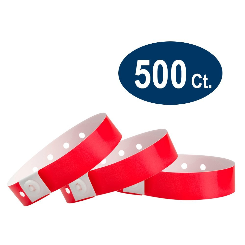 WristCo Neon Red Plastic Wristbands - 500 Pack Wristbands For Events