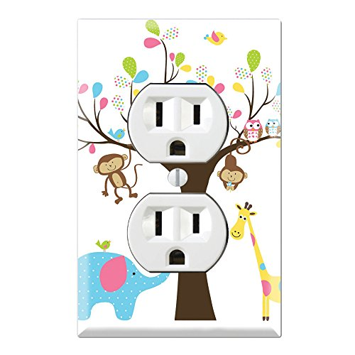 Duplex Wall Outlet Cover Plate Decor Wallplate - Monkey Giraffe Elephant Owl Tree