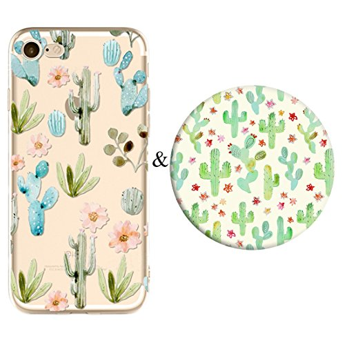 Set Butterfly Socket (iPhone 8 Plus Case and Expanding Stand Set,Karri CC Butterfly Floral Prints Clear Flexible Soft TPU Cover and Multifunction Grip Pop Mount Socket for iPhone 8 Plus)