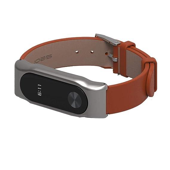 a5ccc5427dcb Bestow Xiaomi Miband 2 Mijoas Correa de Reloj de Pulsera de Cuero de Moda  Nueva .Banda Reloj de Pulsera de Otros aparatos electršnicos(Blanco)   Amazon.es  ...