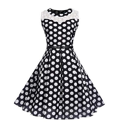 (Women Dresses Godathe Women Vintage Sleeveless Lace Patchwork O Neck Evening Party Prom Swing Dress)