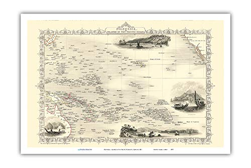 (Pacifica Island Art - Map of Polynesia - Islands in The Pacific Ocean - Vintage Map by J. Rapkin c.1851 - Master Art Print - 12in x)