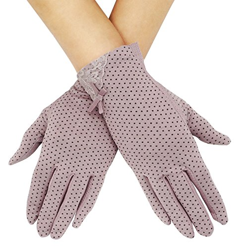 Lovful Women's Outdoor Uv Protection Cotton Anti-skid Driving Gloves,Purple (Womens Driving Gloves)