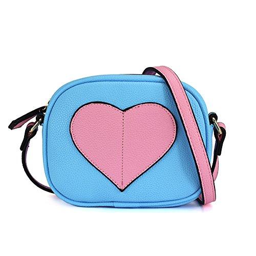 CMK Trendy Kids Mini Heart Shape Kids Purse and Handbags for Little Girls Cross Body Bag for Toddlers (Pink heart-blue) (80004_Blue)