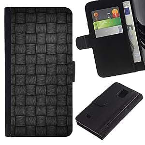 KingStore / Leather Etui en cuir / Samsung Galaxy Note 4 IV / Motif gris