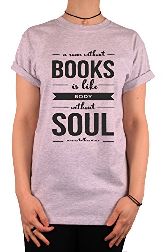 "TheProudLondon A room without BOOKS is like body without SOUL"" Unisex T-shirt (XLarge, Heather Grey)"