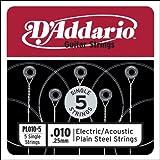 D'Addario PL010-5 Plain Steel Guitar Single String, .010 5-pack