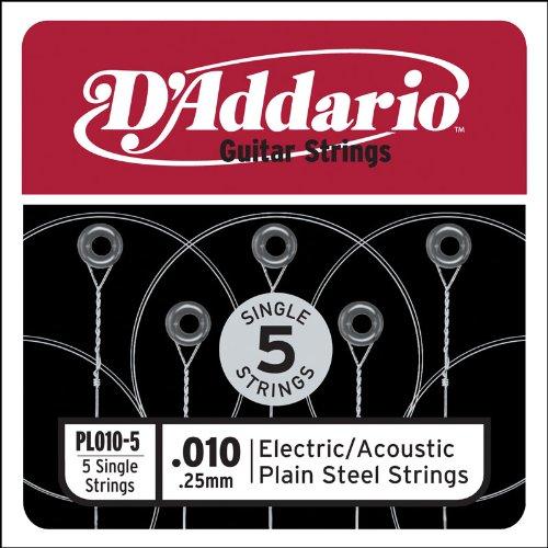 Plain Electric Guitar String (D'Addario PL010-5 Plain Steel Guitar Single String, .010)