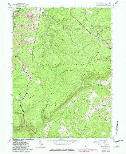 YellowMaps Sandy Ridge PA topo map, 1:24000 Scale, 7.5 X 7.5 Minute, Historical, 1958, Updated 1982, 26.9 x 22.1 in - Tyvek