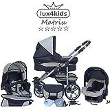 Chilly Kids Matrix II 3 en 1 Poussette combinée (siège auto inclus les adaptateurs, habillage pluie, moustiquaire, roues pivotantes 62 couleurs) 24 noir & crème