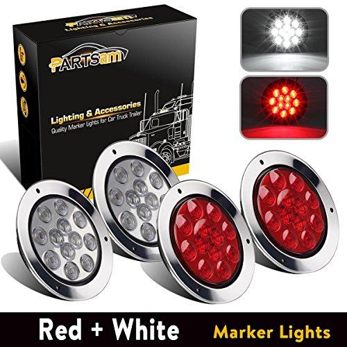 (Partsam 2 Red + 2 White 12 LED 4