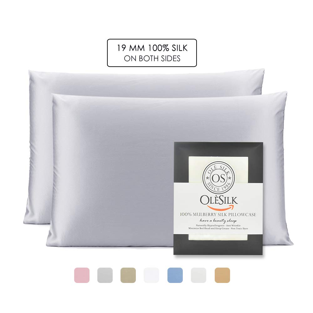 OLESILK 100% Mulbery Silk Pillowcase 2 Pack with Hidden Zipper for Hair and Skin Beauty,Both Sides 19mm Charmeuse - Silvergrey, Standard