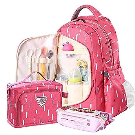 Sunveno Gran Capacidad Multifuncional Mochila Mochila Baby Pañal Pañal Cambio Bolso con bolsa aislada (Rose