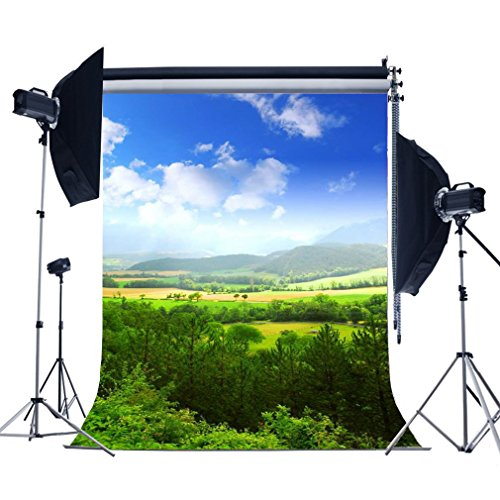 Laeacco Nature View 3x5ft Vinyl Photography Background Green Trees and Mountains Landscape 1x1.5m Backdrop Photo Studio Props (Landscape Backdrops)