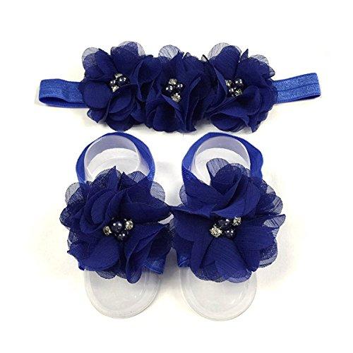 LD DRESS Baby Girl Foot Flower + Headband (Royal blue)