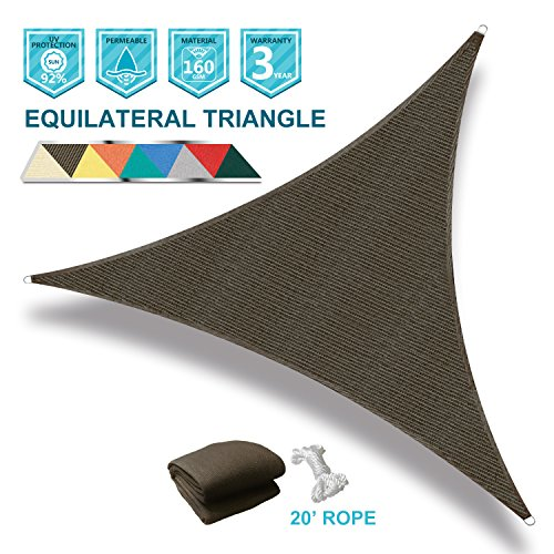 Coarbor 16 x 16 x 16 Triangle Brown UV Block Sun Shade Sail Perfect for Patio Outdoor Garden