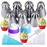 Piping ruso consejos 21PCS kit de panadería, conjunto para la decoración de la torta /Cupcake   7 puntas rusas, 10 bolsas de pastelería desechables, 2 acopladores, 1 bolsa de pastelería de silicona reutilizable, 1 cepillo de limpieza, libro electrónico,