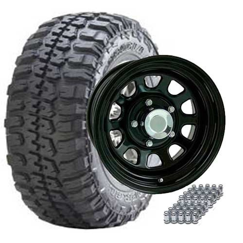 JEEP TJ, YJ, XJ 31X10.50R15 FEDERAL/ 15X8 GLOSS BLACK WHEELS SET OF 5 - TIRE & WHEEL PACKAGES