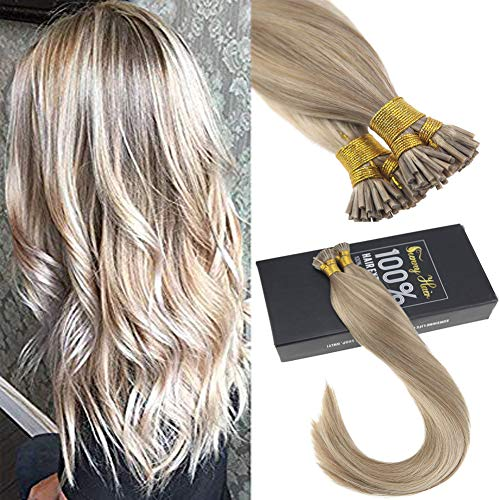 Sunny 16inch Fusion Extensions with Highlight Two-tone Color Golden Blonde with Light Blonde Pre bonded I Tip Fushion Remy Human Hair 1G/S 50gram