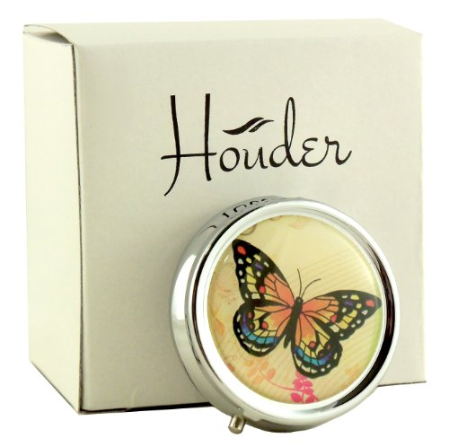 Designer Pill Box by Houder - Decorative Pill Case with Gift Box - Carry Your Meds in Style (Butterfly)