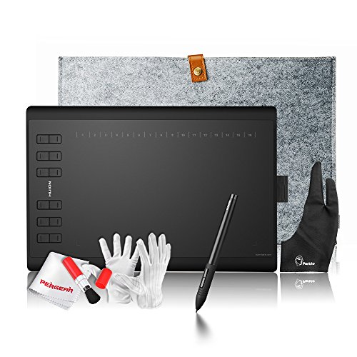 Huion 1060PLUS Built-in Card Reader with 8GB MicroSD Card 12 Express Keys 16 Software Keys Painting Drawing Pen Graphics Tablet + 15 Inches Wool Liner Bag + Glove ()