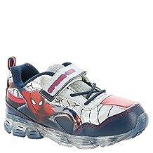 Spiderman Boy's Navy/Silver/Red Light Up Hook-&-Loop Sneakers Shoes