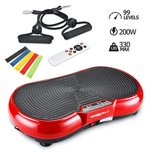 Vibration Plate Machine, Whole Body Fitness Vibration Platform with Remote Control and Resistance Bands for Weight Loss Toning (Red) (Best Workout For Whole Body Toning)