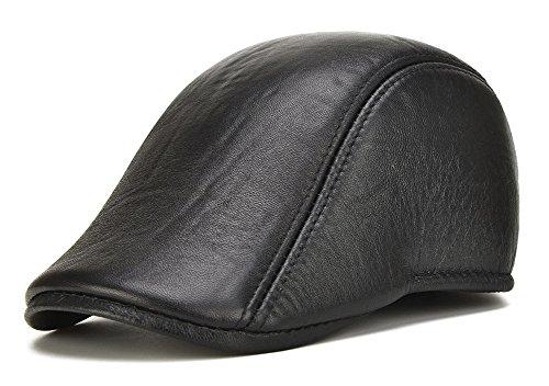 5c1064d1 Roffatide Men Leather Newsboy Cap Cabby Ivy Golf Beret Driving Hunting Flat  Hat Black 60cm