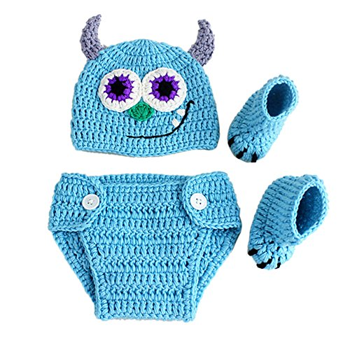 Newborn Baby Photo Props Outfits Clothes Crochet Knitted Cap Monster Pants]()