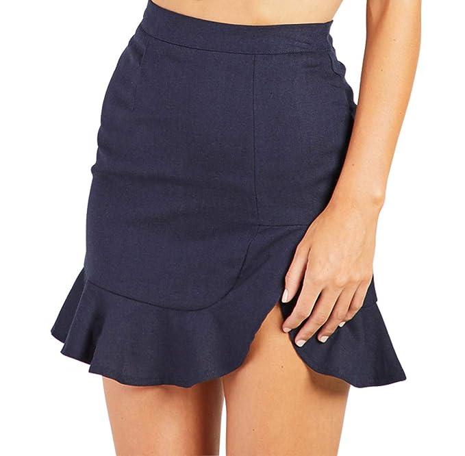 ed0e4d5cdd26 Justalwart Women's High Waist Swing Ruffle Frill Mini Bodycon Skirt Short  Wrap Skirt (XS,