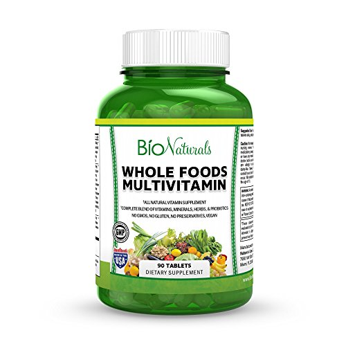 Whole Foods Multivitamin Supplement For Men & Women by Bio Naturals – Organic Blend With Vitamins, Minerals, Herbs, Omega 3, Probiotics, Vegetable & Fruit Extracts – 90 Veggie Tablets (Natural Vitamins Supplements)