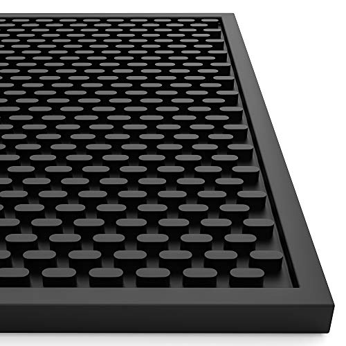 AXIESO Silicone Bar Mat - Thick Heat-Resistant and Food Safe Drip Mat - Spill Mats for Counter Top - Service Mat for Kitchen, Coffee Bar, Restaurant - Drying Mat for Glasses - 18 x 12 Inches, Black