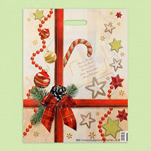 Pack de 50 Eco toy-ribbon blanco plá stico bolsas 'Navidad sorpresa' 40 x 50 EXTRAPACK
